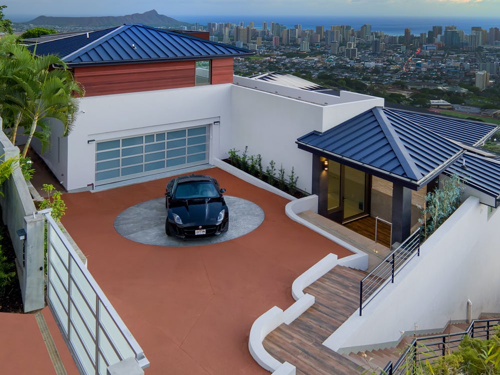 Aerial view of rooftop garage.