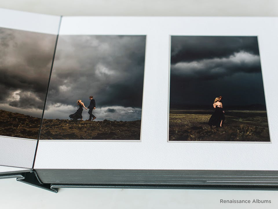 Matted photo albums are popular among professional photographers