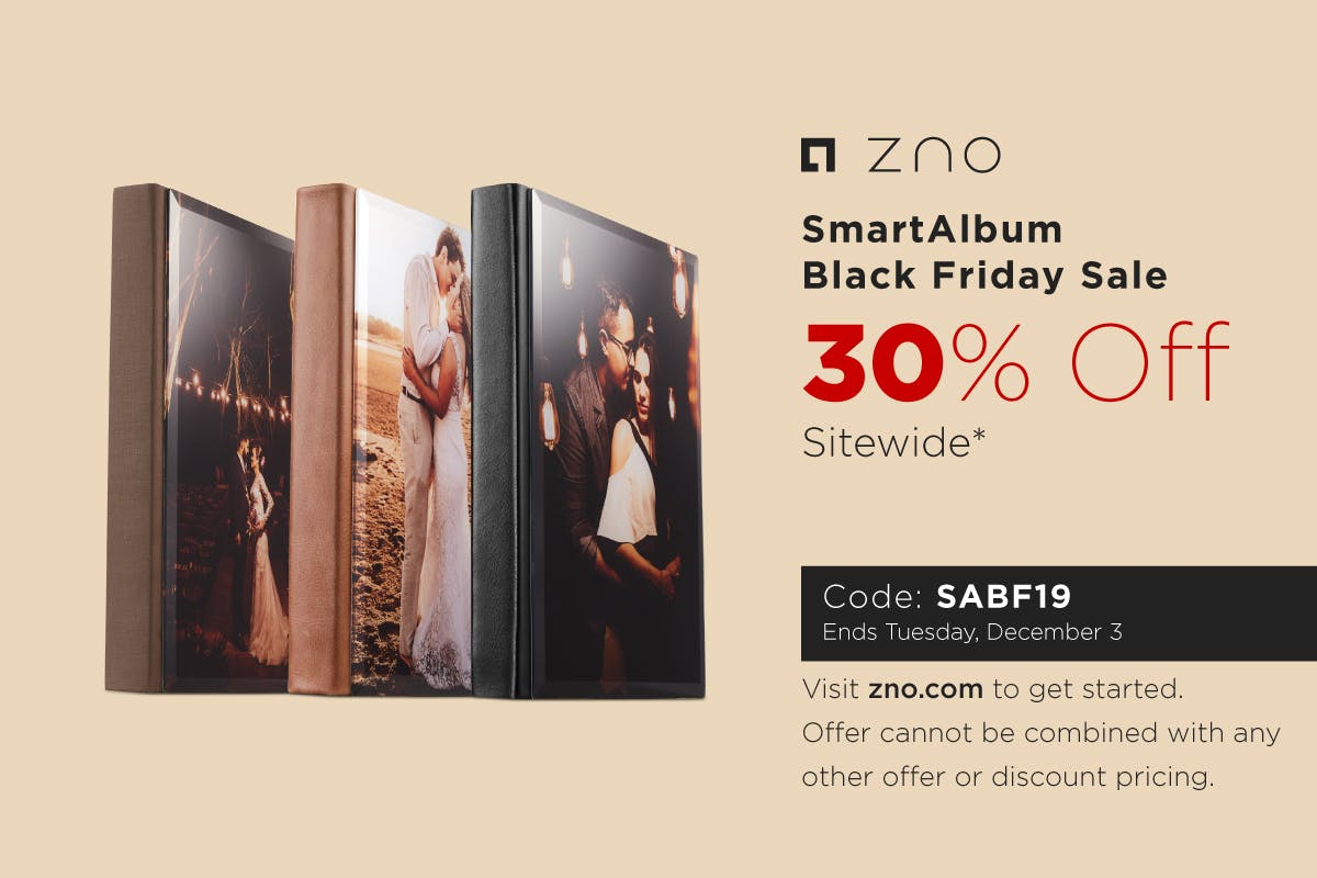Zno Black Friday 2019 discount on photo albums, books, and prints for photographers