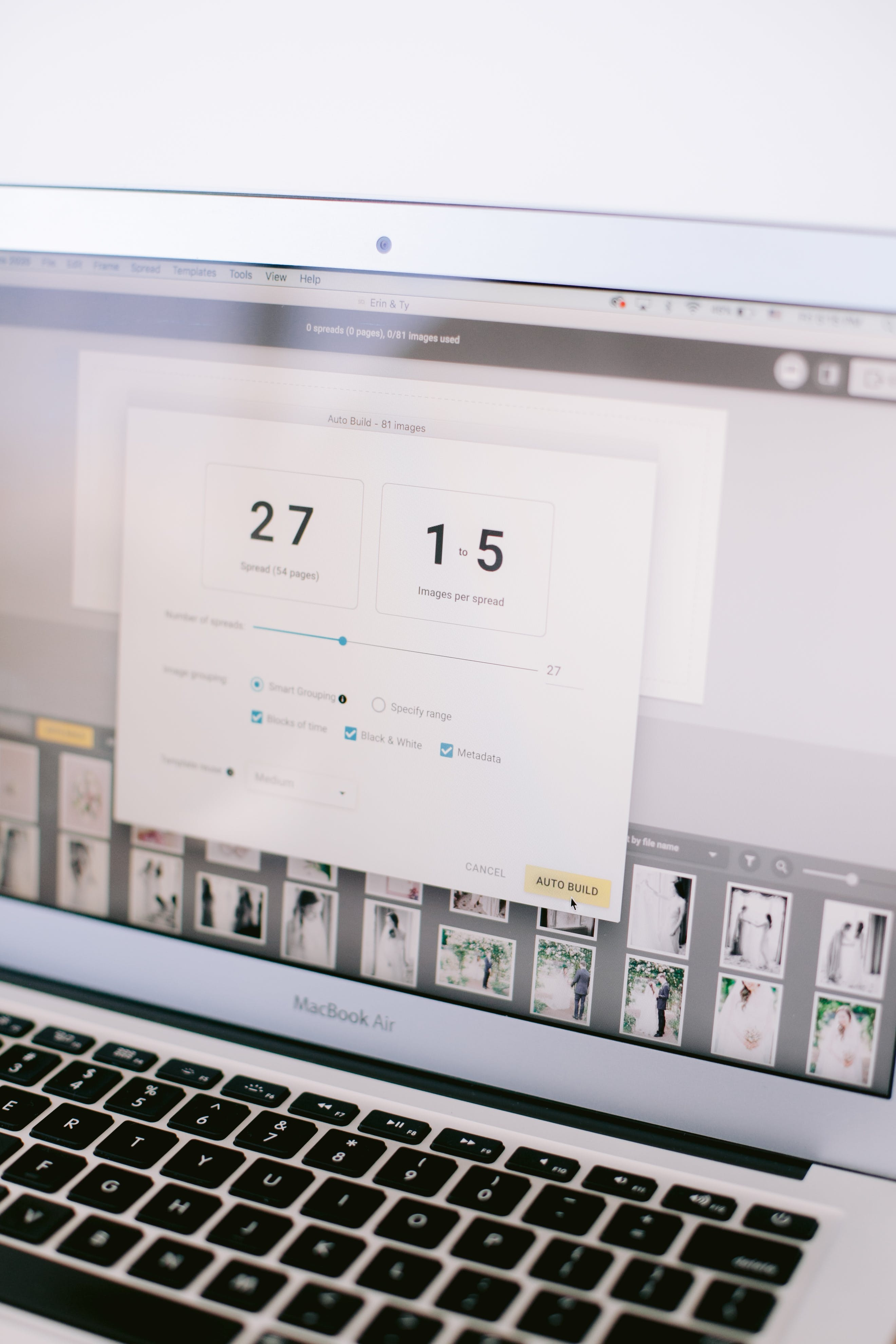 SmartAlbums Auto Build feature allows photographers to design a photo album for their clients quickly and easily