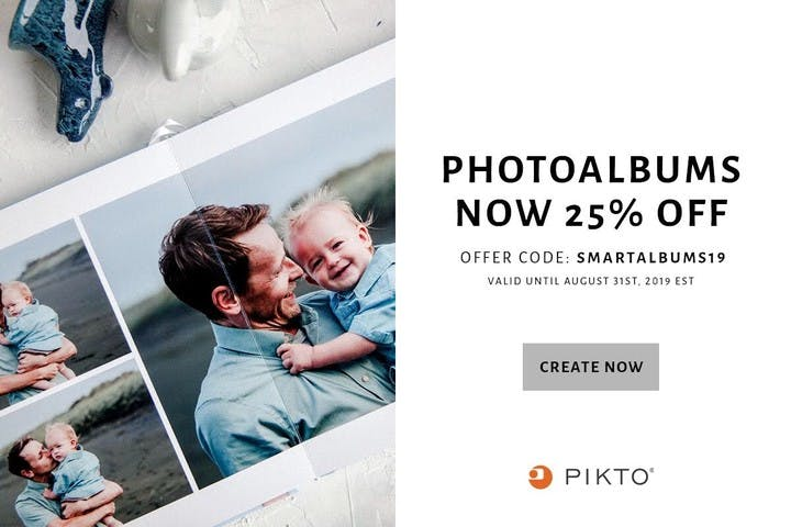 25% off photo albums with Pikto and SmartAlbums 2019