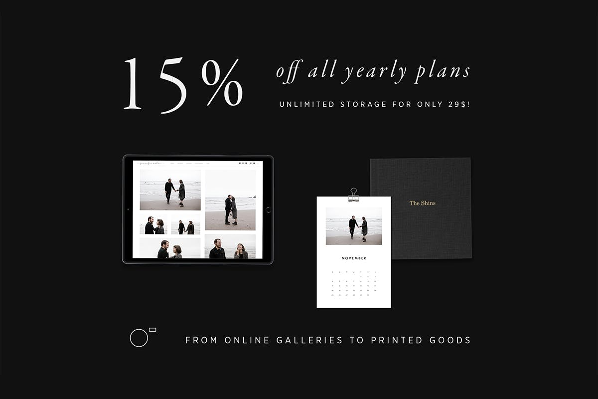 15% off online gallery yearly plans with Pic-Time