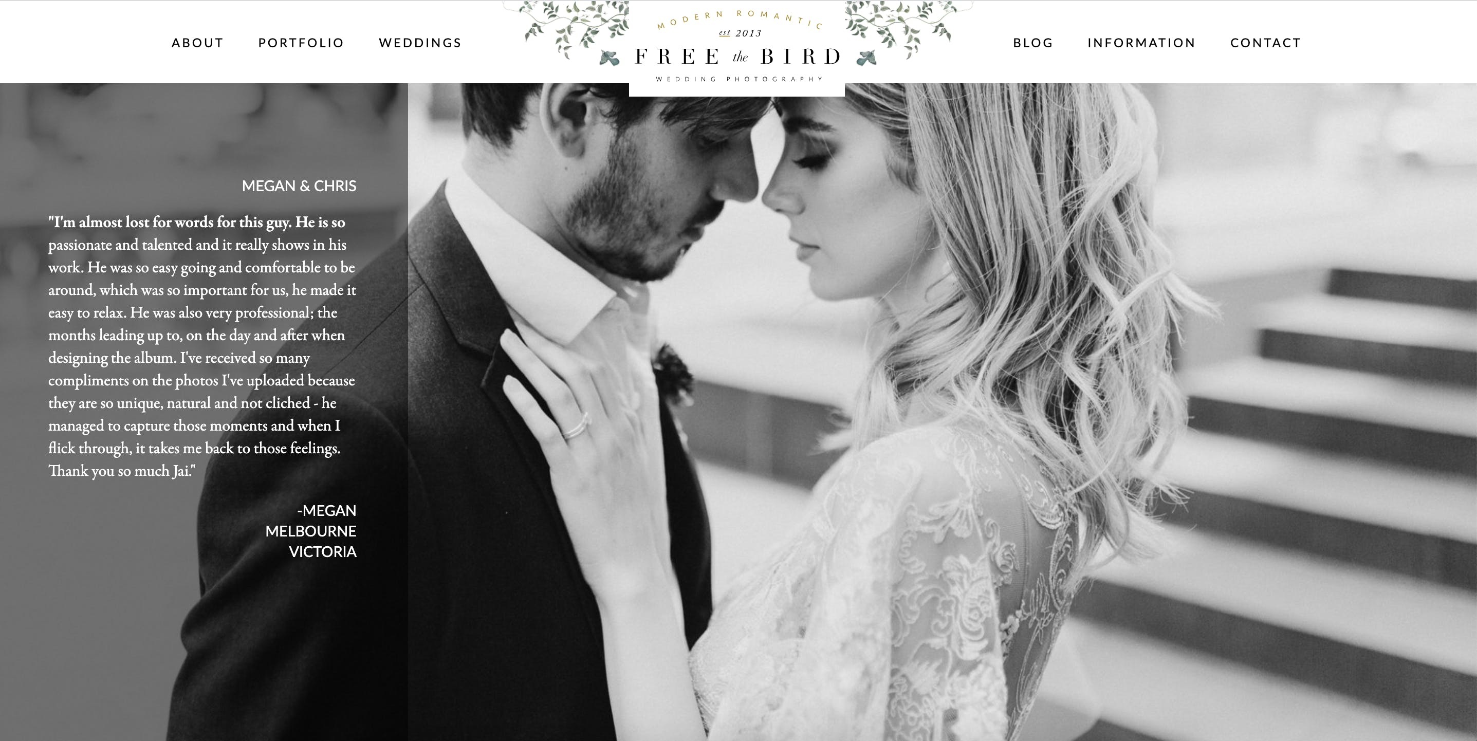 Wedding Photographer Jai Long uses a testimonial on his home page to book more clients.