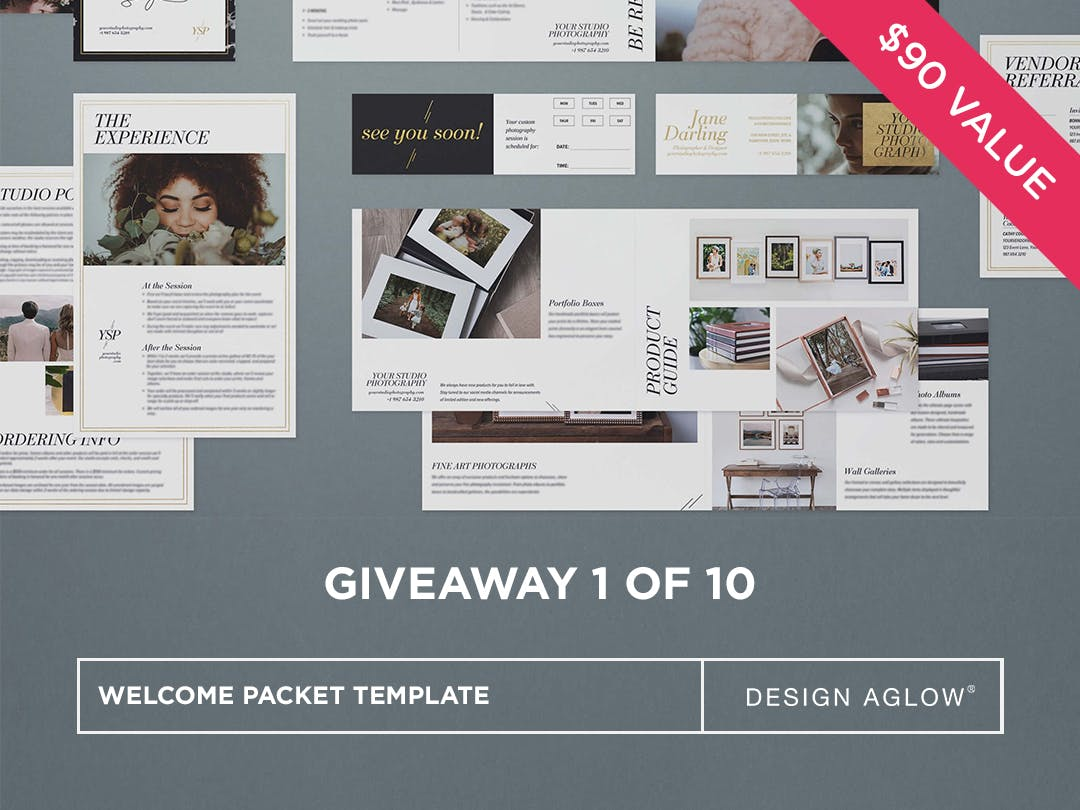 Win a client welcome packet template from Design Aglow for photographers