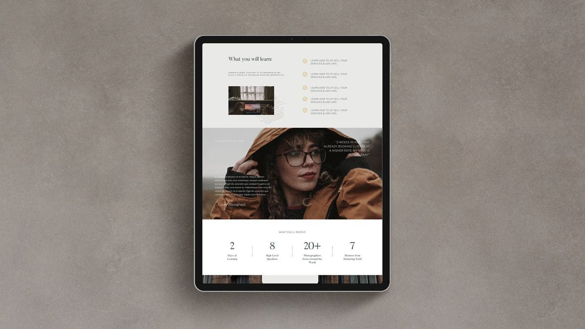High-converting WordPress landing page template for photographers