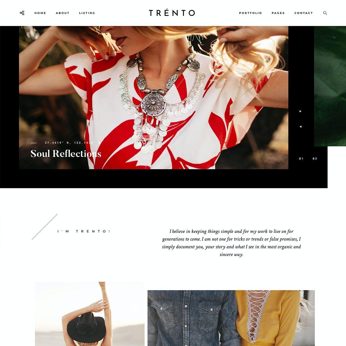 Flothemes WordPress template Trento for photographers