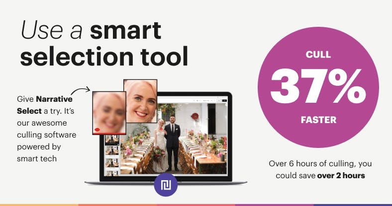 Half your photography culling time by using a smart image selection tool like Narrative Select