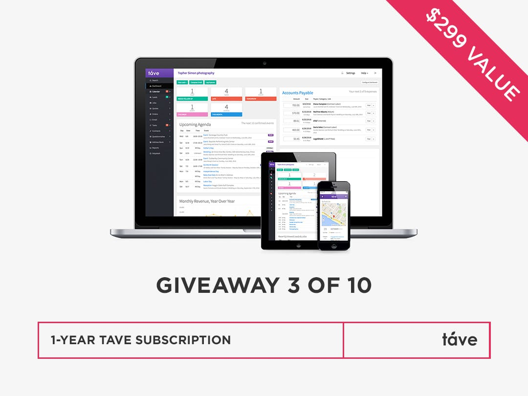 Win a one year business management for photographers subscription from Táve