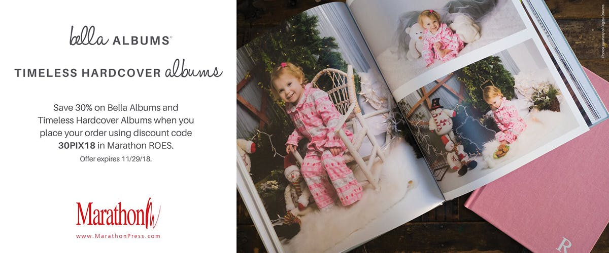 30% off on Bella Albums and Timeless Hardcover Albums from Marathon Press