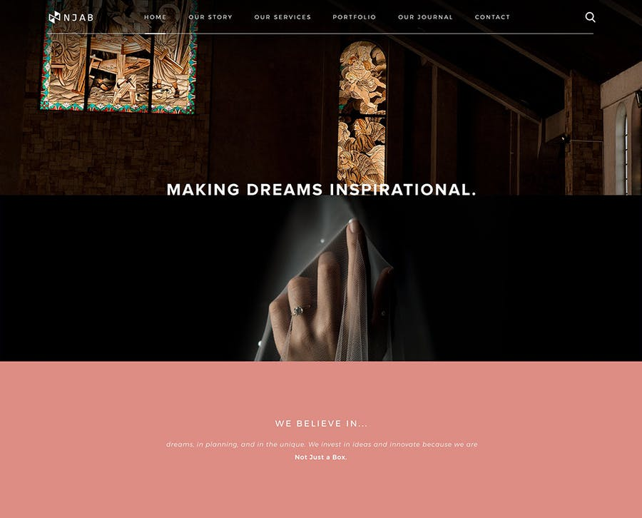 Making Dreams Inspirational - Not Just a Box Events Website Brand
