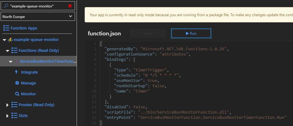 Azure Function running