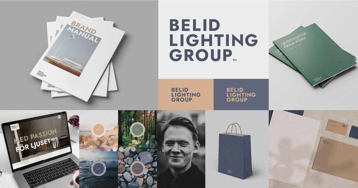 Kollage över grafisk identitet för Belid Lighting Group