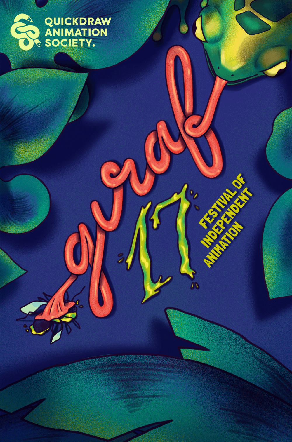 GIRAF 17 festival poster: a frog eats a fly, its tongue twists to spell out the word GIRAF