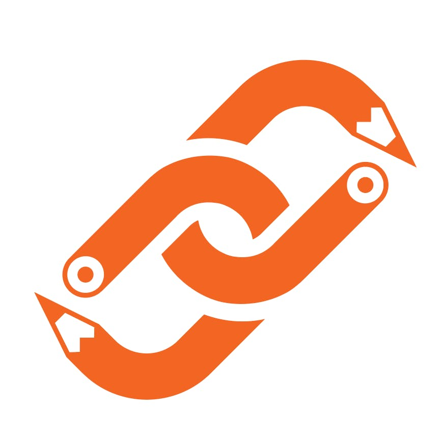 The Quickdraw logo pencil in the shape of a chain link. Orange on a white background.