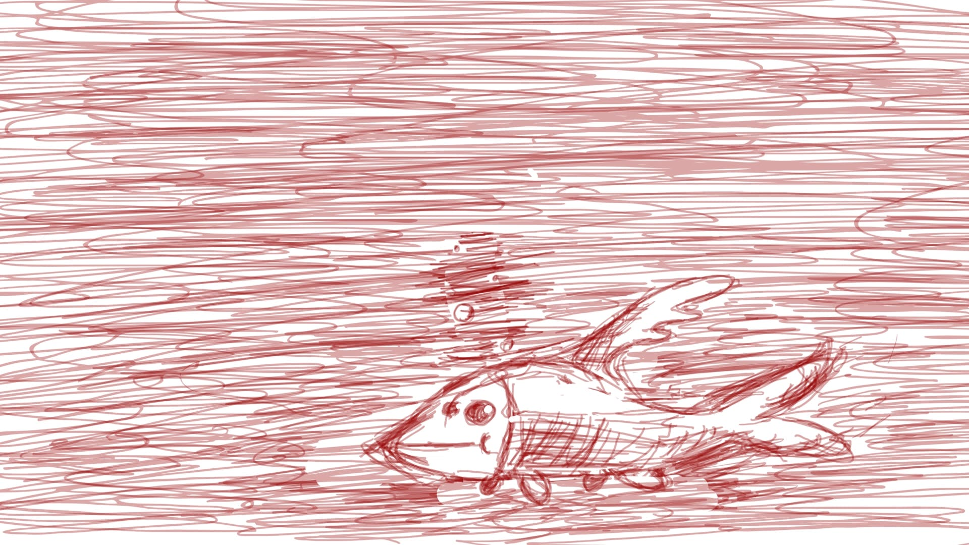 A drawing all in red pen, with a fish in the corner