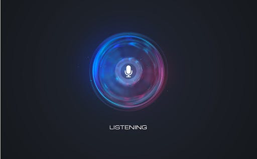 Black background with round design, in blue purple and red colors, a microphone image in the middle, and the word LISTENING on the bottom side