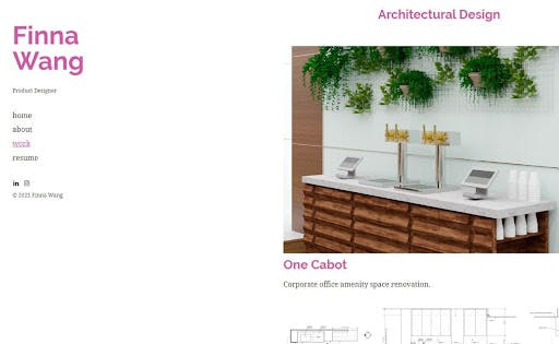 Finna Wang product designer architectural design white background wooden furniture with two lightning outfits two tablets and green plants