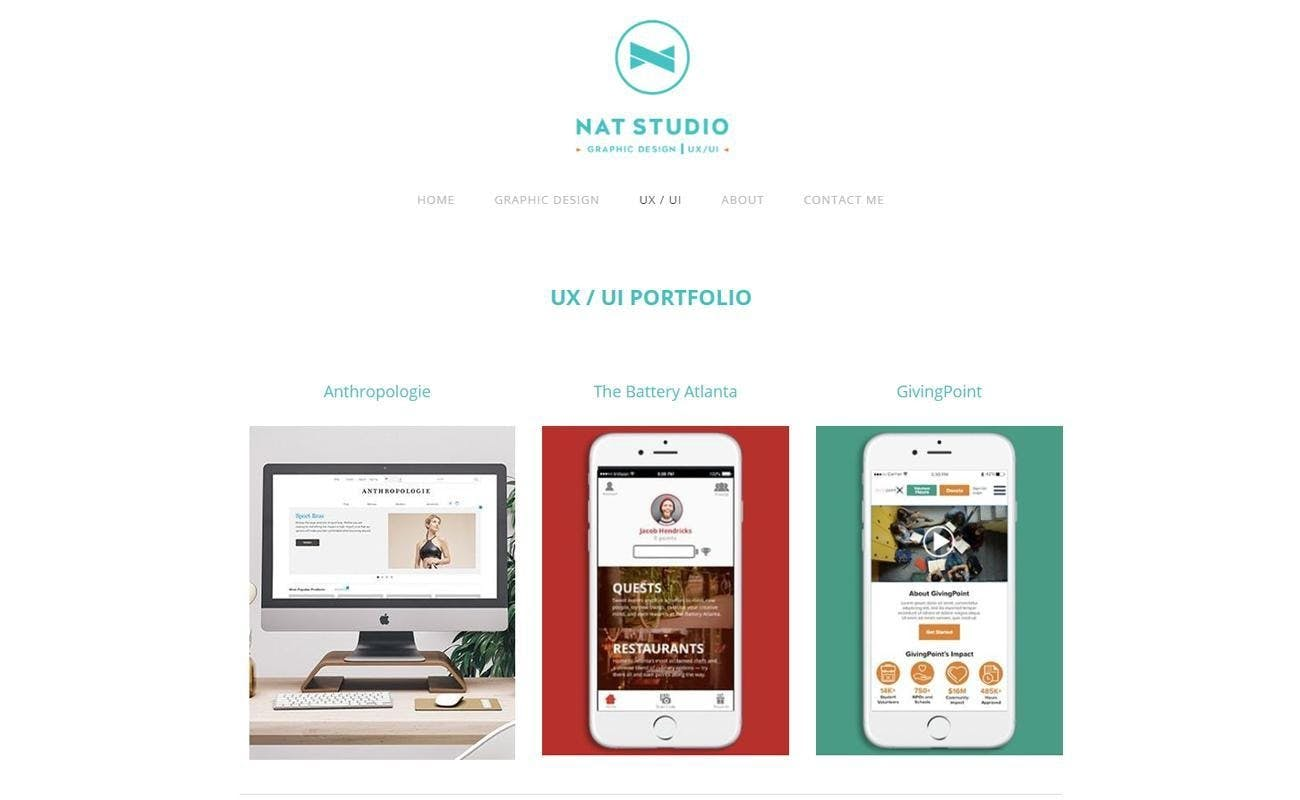 Natalia ui ux designer graphic white background one desktop screen two iphonescreens portfolio