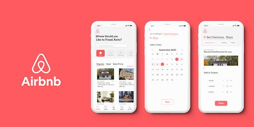 airbnb application, red background and a showcase of app