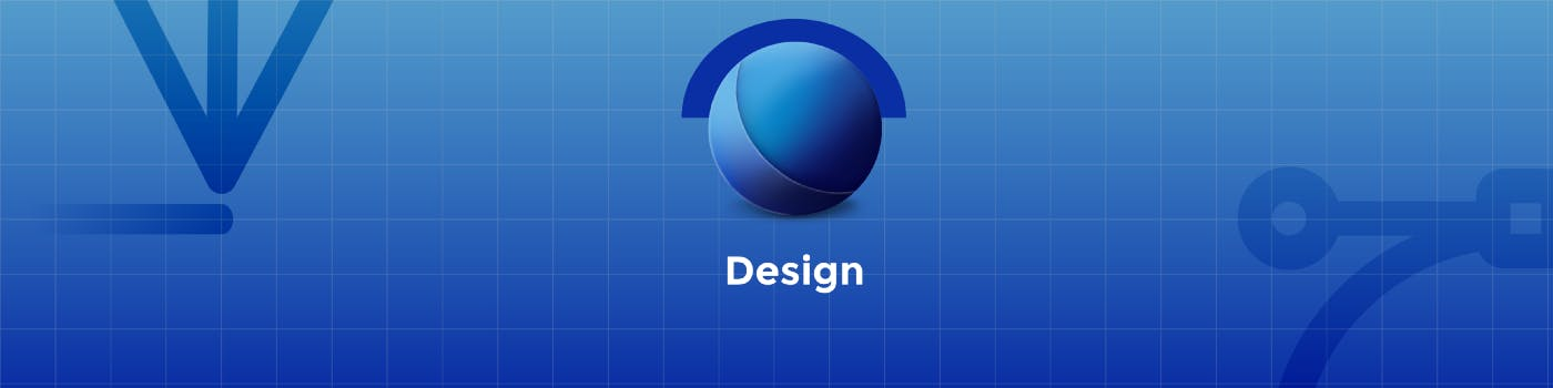 Blue logo that refers to design