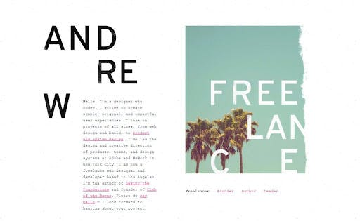 Andrew Couldwell freelance web product designer white background blue sky palmtrees