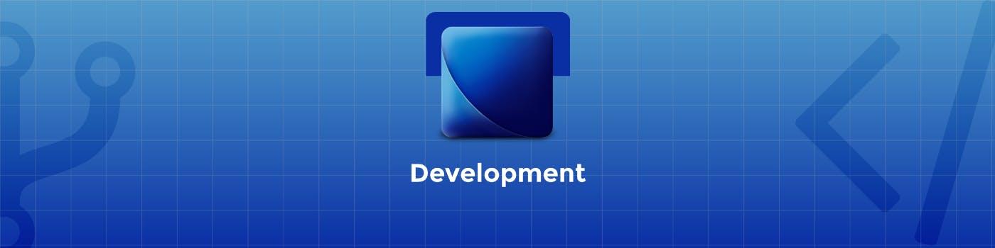 Blue logo that refers to development