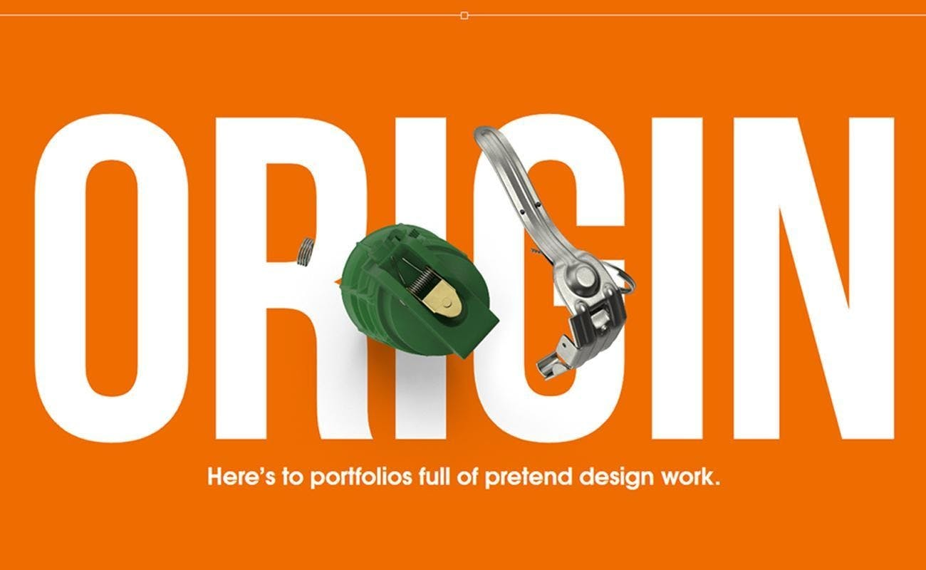 Jonathan Patterson freelance designer orange background ORIGIN in the middle with white letters