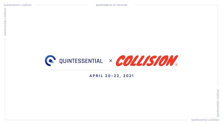 white background, quintessential sft logo, collision logo