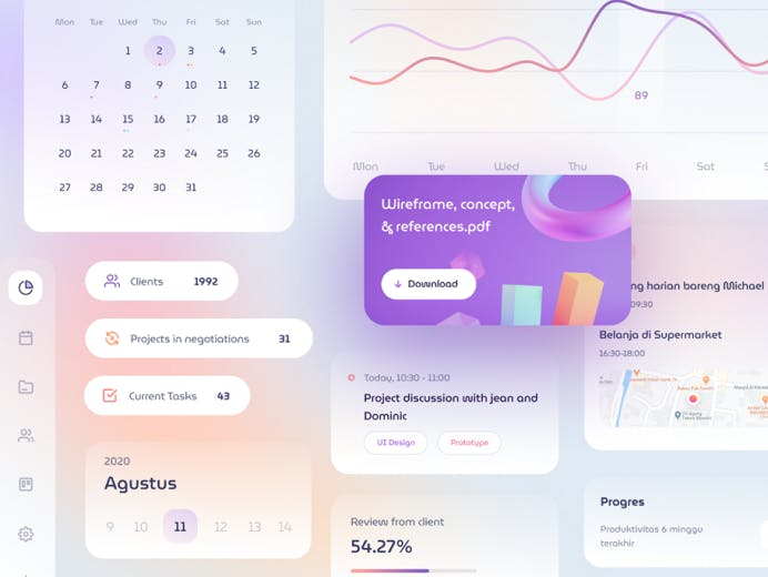 Calendar, Graph, Rounded purple square, date, percentage of review, progress, number of clients, number of projects in negotiations, current tasks