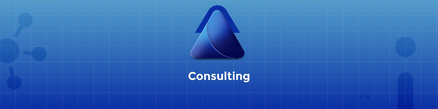Blue logo that refers to consulting