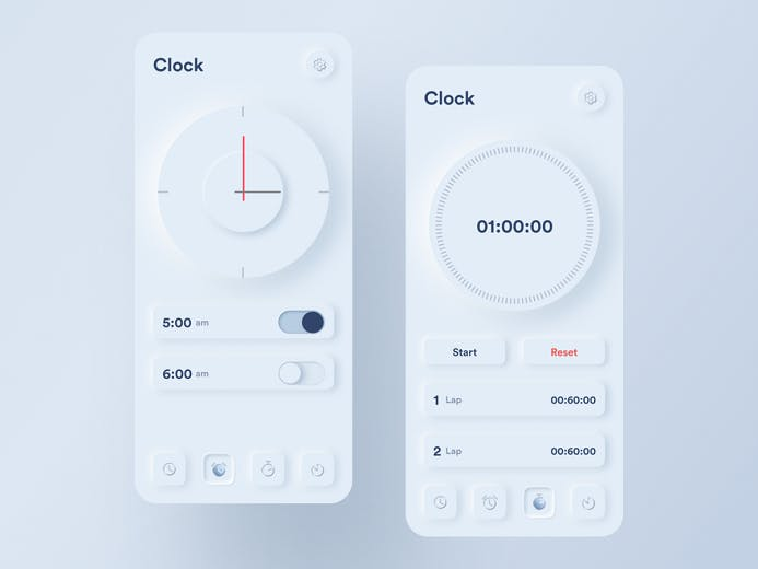 Two phone screens, Two clocks, a timer, alarm, start button, stop button,