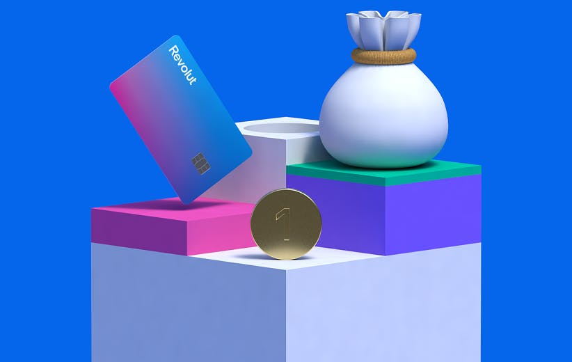 A blue background, one big square, three more squares holding stuff, a coin with the number one, a revolut card, a pouch tied with a rope