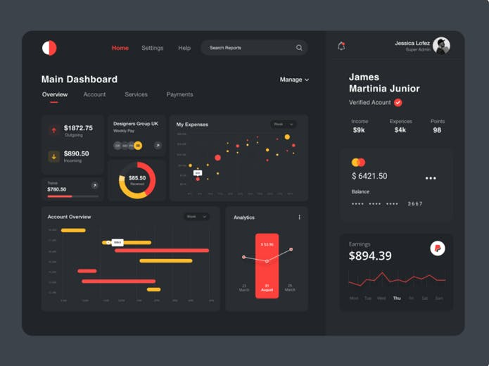 Tablet, statistics, analytics, earnings, account overview, experience, black backround, notification, dashboard, payment button, account button