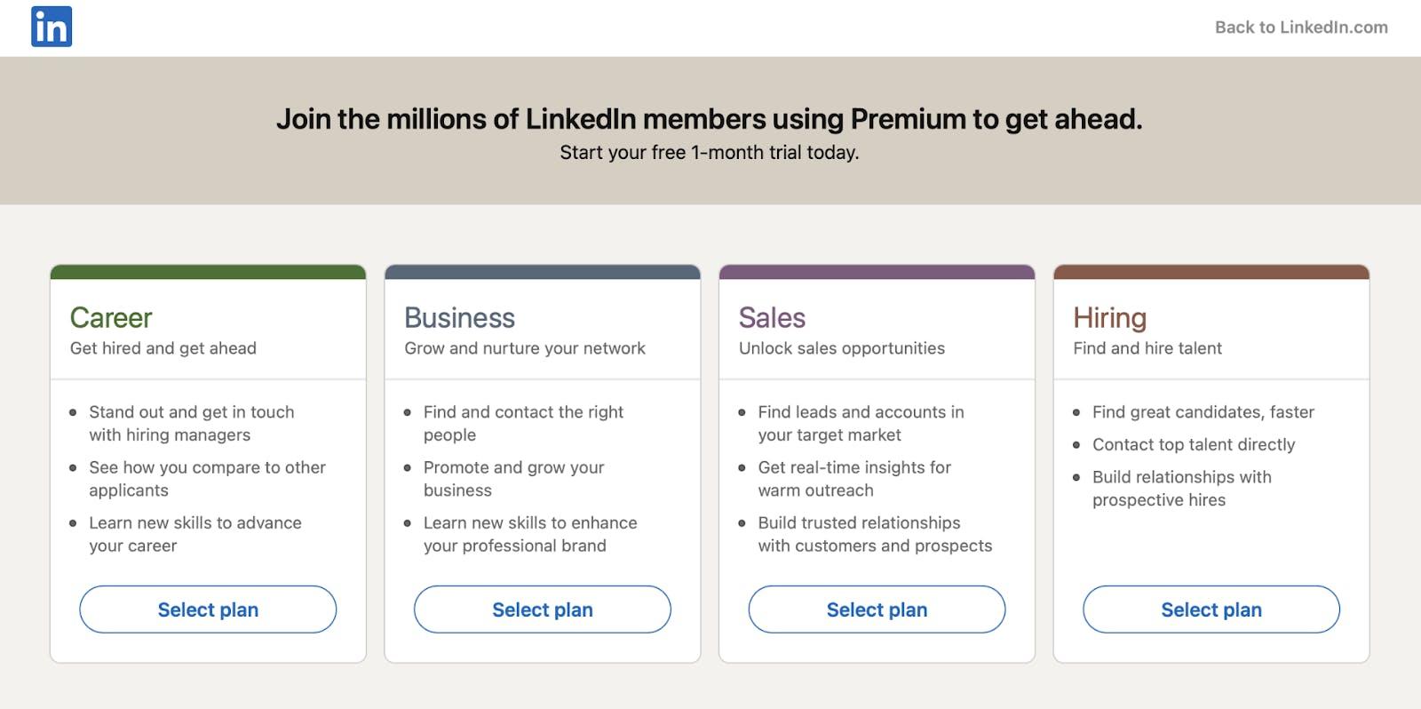 LinkedIn premium package choose options