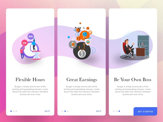 A white template, Purple and blue wave design, A clock, two people in front of the clock, a design with colorful bubble, a man at his desk