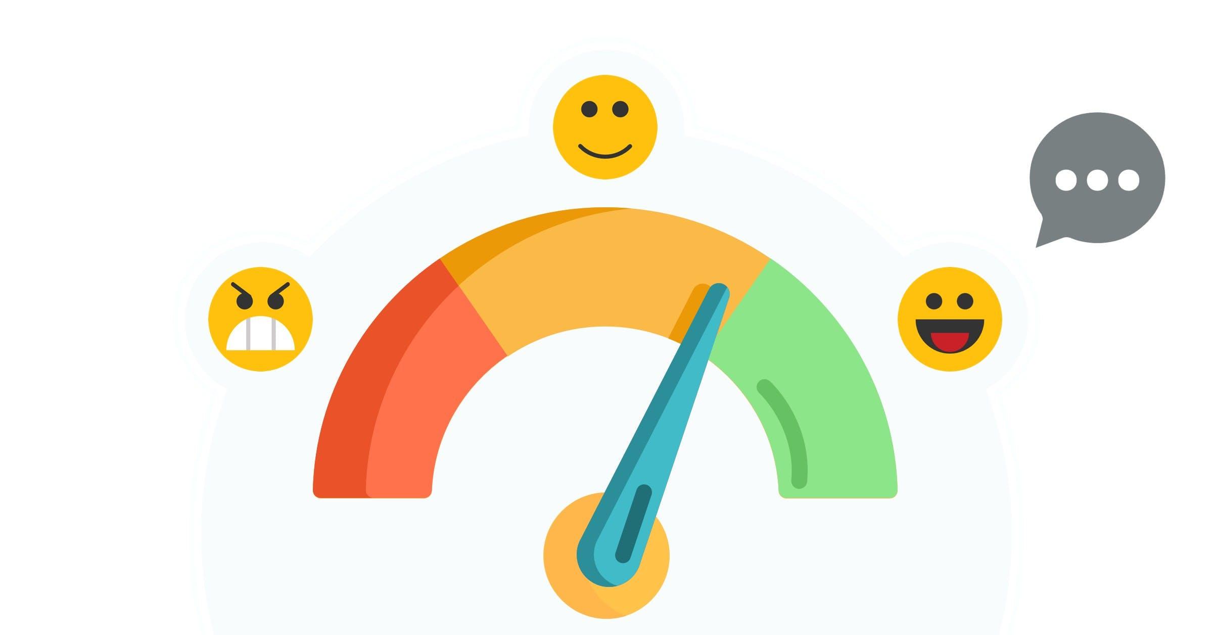 angry emoji, smile emoji, excited emoji, mood meter with red, orange and green colors