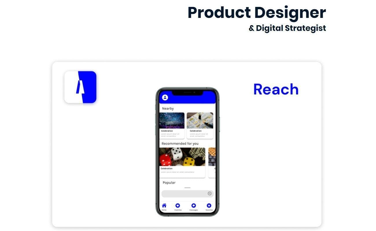 Eric Hanson researcher white background product designer digital strategist iphone phone screen