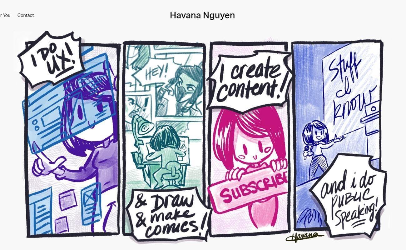 Havana Nguyen ux designer colorful comic girl white background