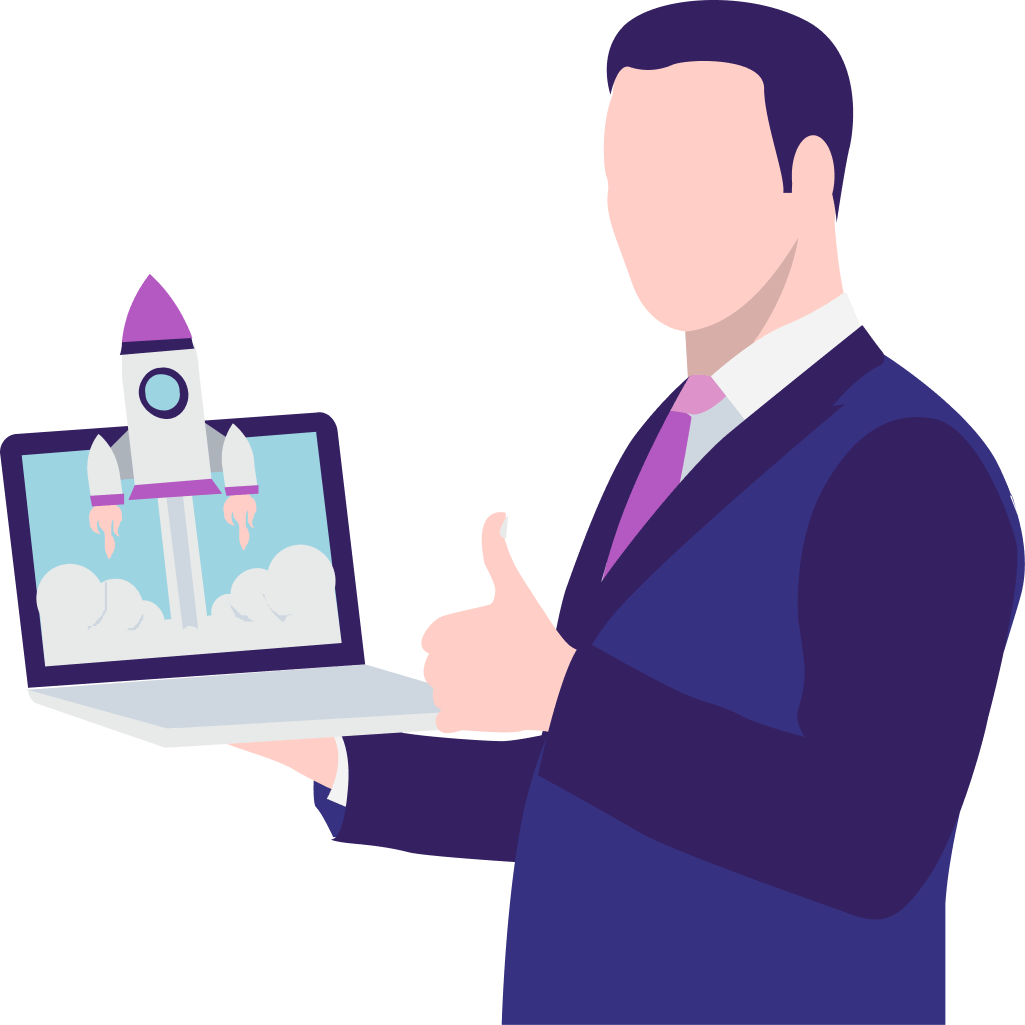 animated man wearing a blue suit holding a laptop that showcases a rocket launching