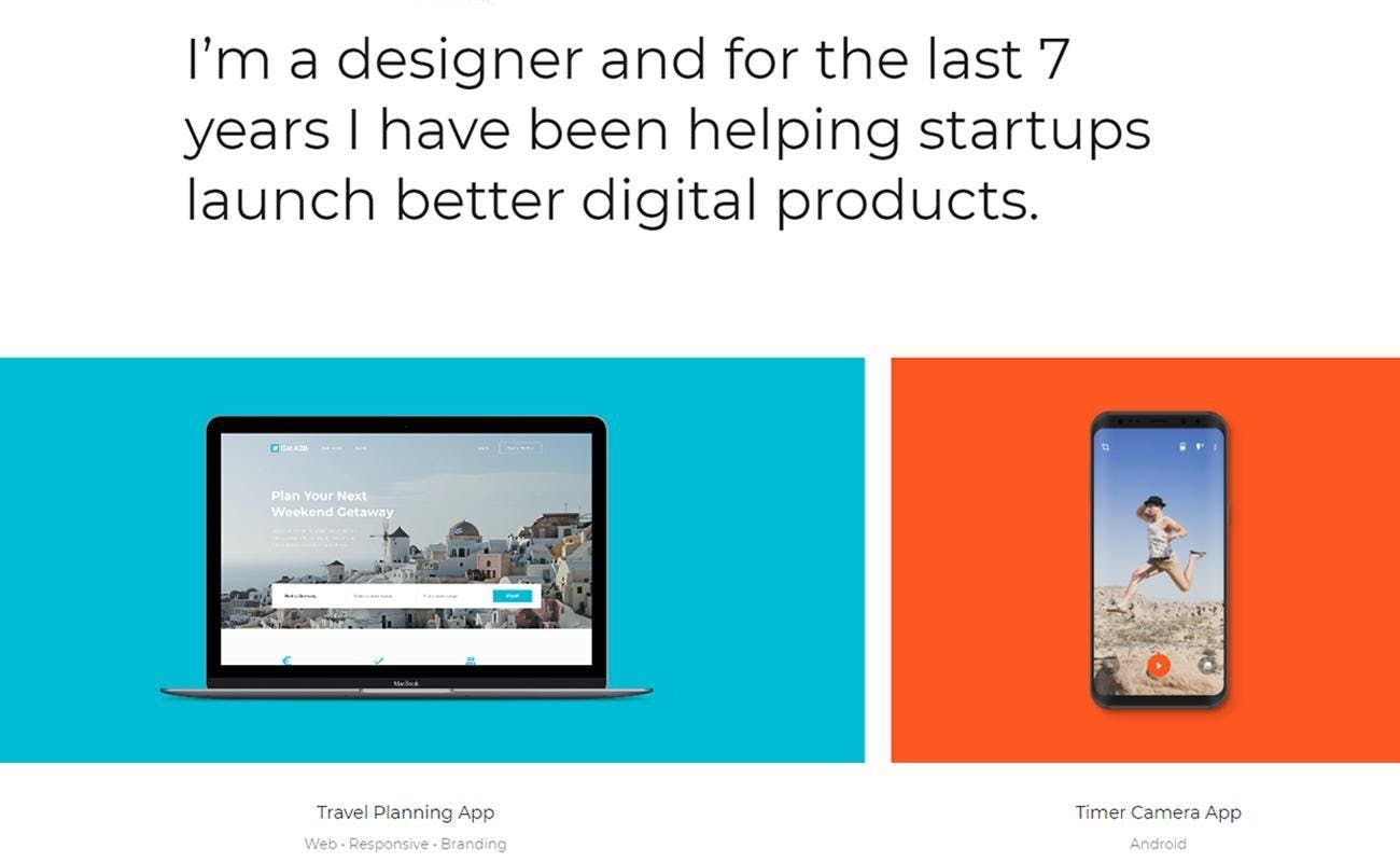 blue template with a laptop screen digital products sample, orange template with a phonescreen Ljubomir Bardzic designer