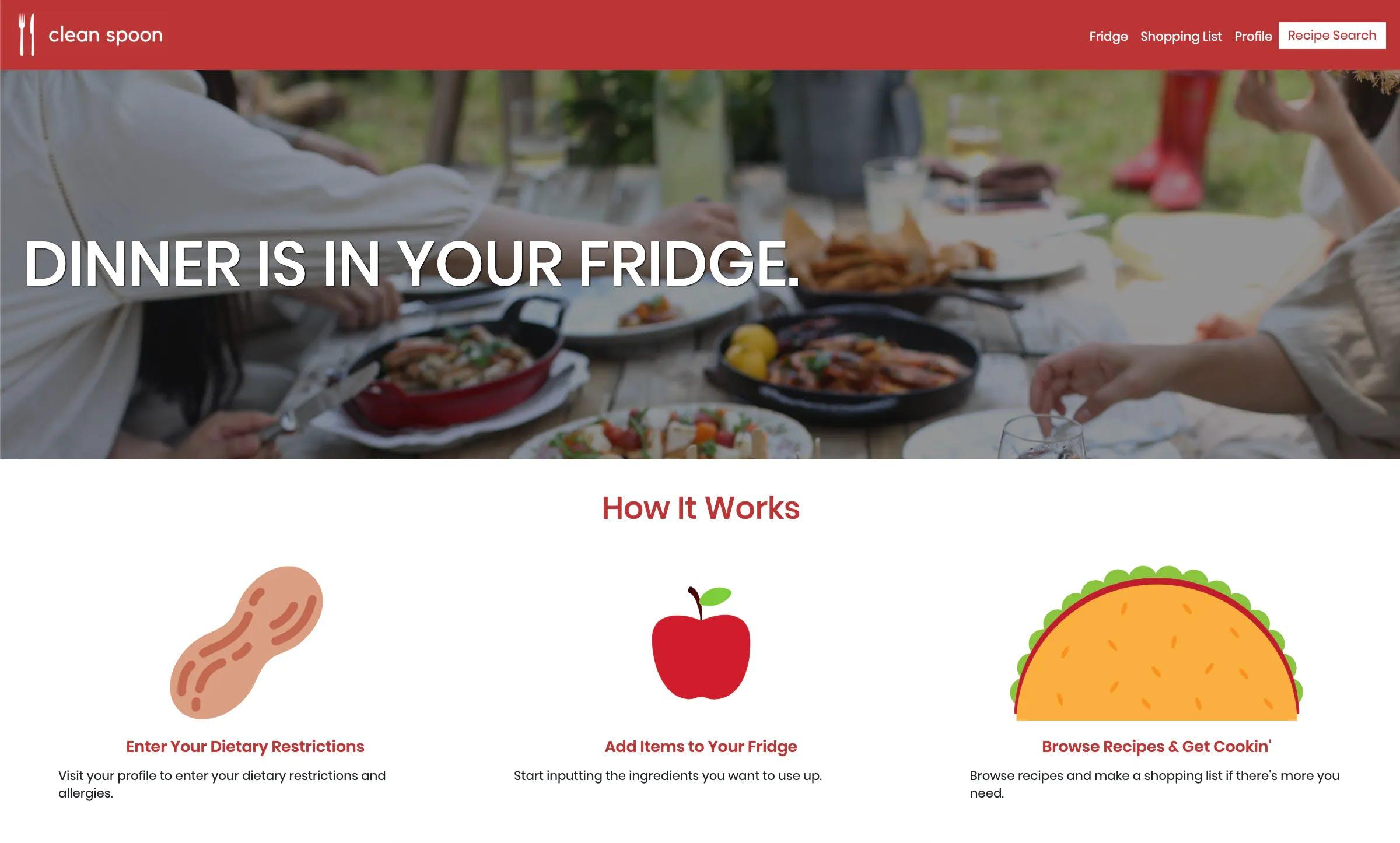 Clean Spoon homepage