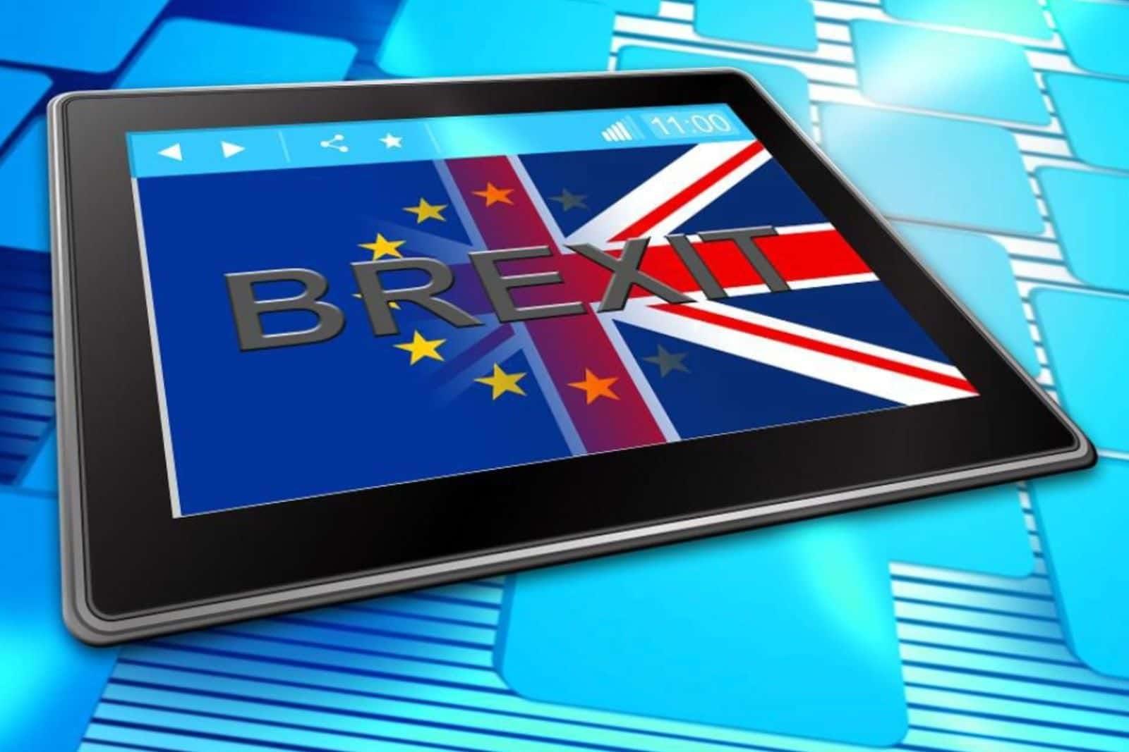 Brexit flag displayed on tablet