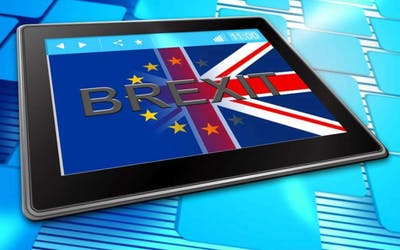 Brexit flag displayed on tablet
