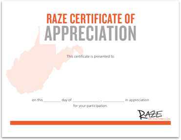 Raze Certificate of Appreciation