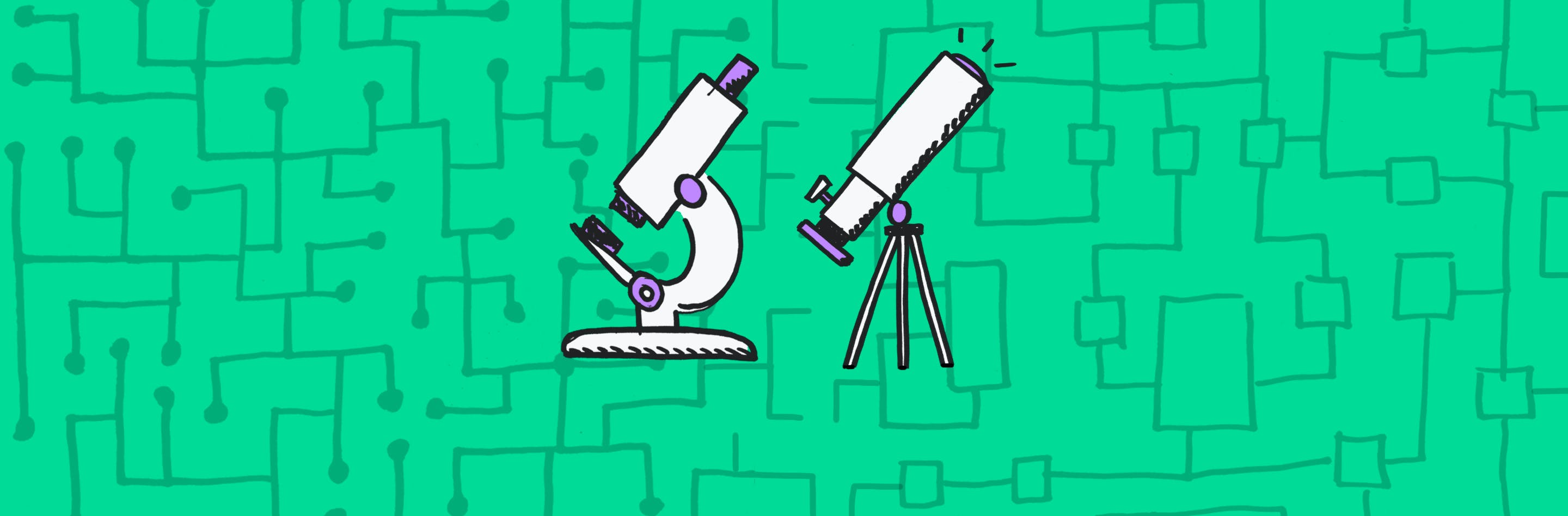 Illustrations of a telescope and microscope