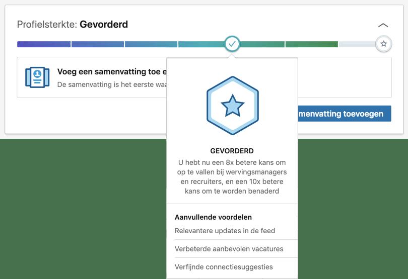 Gamification voorbeeld: de Linkedin profiel meter