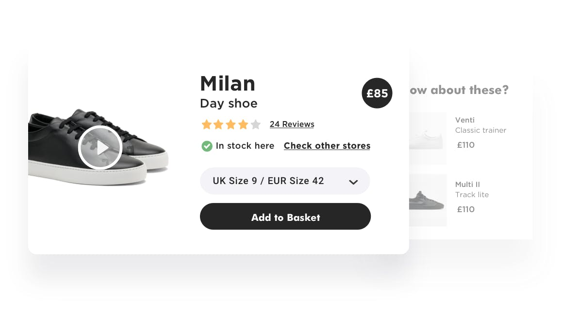 Rich product pages feature smart recommendations, online reviews and more