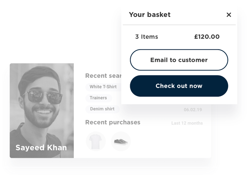 Connect offline activity to online accounts for a complete customer view and enable check out at home with emailed baskets