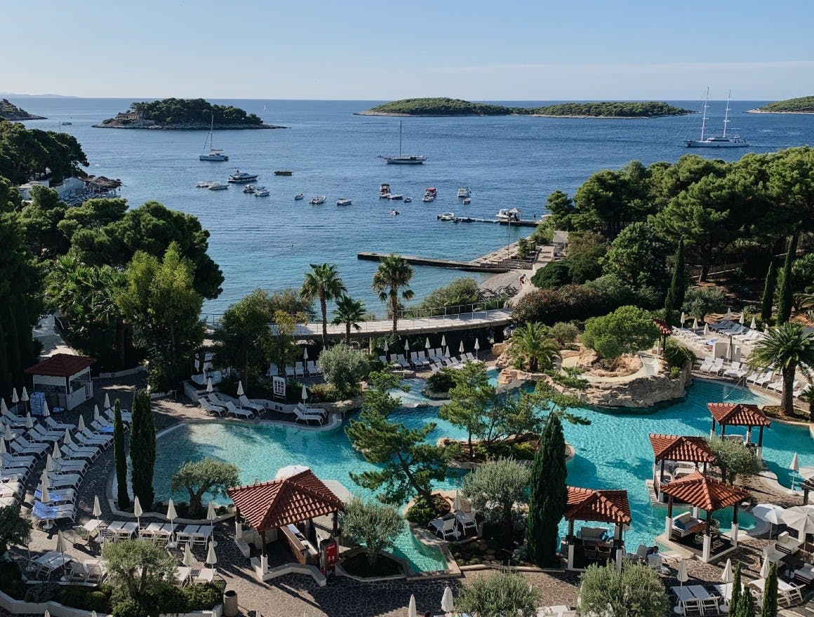 The incredible 360 degree view from Amfora, Hvar Grand Beach Resort, in Croatia