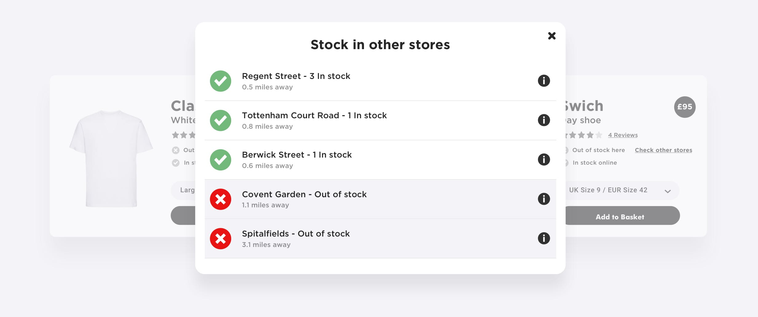RetailOS inventory information and online ordering in-store